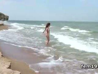 plezier brunette heet, strand, controleren softcore