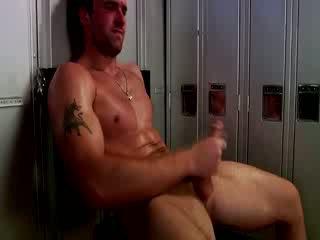 Handsome muscular jock masturbim