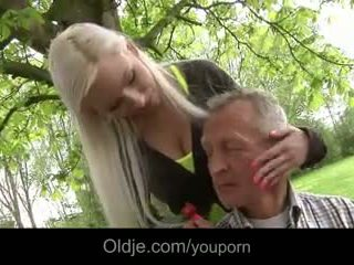 Rich oldman fucks his busty young blonde in the garden