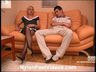 Cassandra And Vitas Red Dirty Pantyhose Footsex