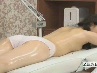 Subtitled japansk skolejente første sensuell olje massasje