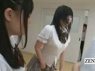 Subtitled 日本语 schoolgirls 在 thongs 屁股 judging