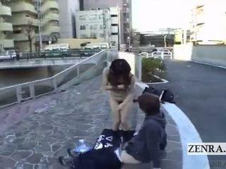 Subtitled extrém japán nyilvános nudity szabadban leszopás