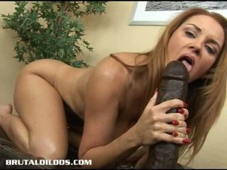 Brutal Dildos: Milf Janet pussy stretched by huge fat black dildo