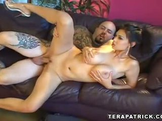 Super star Tera Patrick getting a hard pussy pounding and messy facial