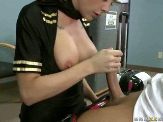 Busty airline stewardess