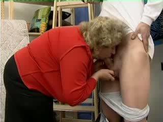 Granny Catch Boyfriends Grandson Jerking Video