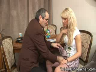 Cute blondie fucked brutally by her perverted teacher.