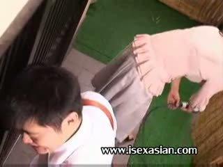 Asiatisk eldre an tante trenge sex med two unge student