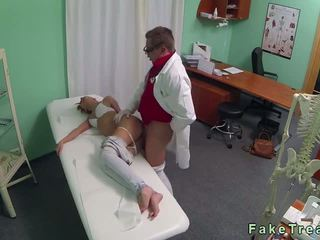Good looking brunette fucked by doctor in fake