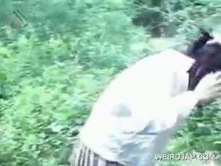 Asiática jovem grávida turned sexo prisoner eats caralho em knees
