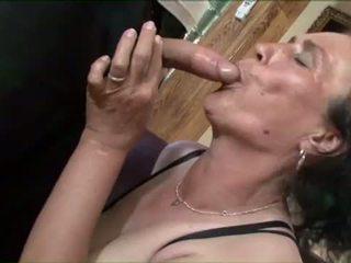 Busty brunette granny gets nasty pussy pounding