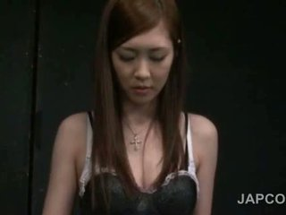 Gorgeous Teen Japanese Strips Torn Fishnets And Hot Lingerie