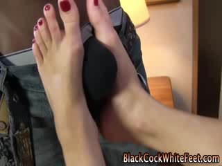 Ebony dong fucks white fetish feet