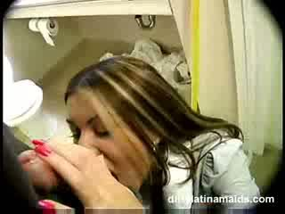 Latino maide doing house workes