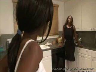 Ebony mom seduces young