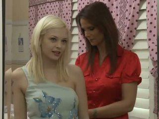 Cute blonde teen for one hot milf lesbian