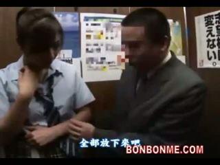 japanese, blowjob, schoolgirl, elevator