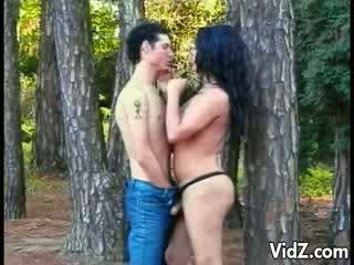 tgirl slut gets nasty in the woods