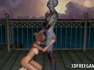 3D Redhead Sucks Cock And Gets Fucked By A Zombie