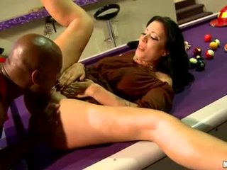 Zoe Holloway Lie On BilLiard Table And Take Up With The Tongueed Hard