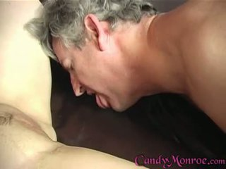 Candy Monroe Acquires Her Weak Cuckold To Take Up With The Tongue Her Clean
