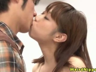 Busty japanese game show babe sucks dick
