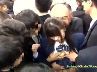 Asian Schoolgirl gets her face gang banged in a bus