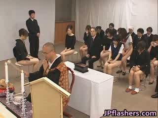 asians go to church half Nude