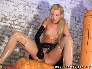Blonde Mistress In Latex Gloves And Stockings Herrmann