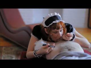 Camille crimson - หัวแดง gives a คนฝรั่งเศส แม่บ้าน ใช้ปากกับอวัยวะเพศ