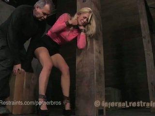 Blond im metal & leder bondage predicaments