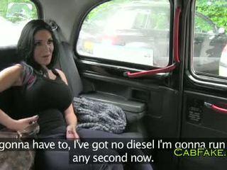 Величезний цицьки dancer трахкав в taxi