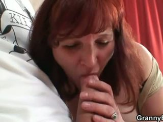 Granny Bet: Horny redheaded granny in stockings gets screwed by young hard cock