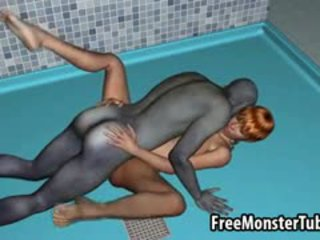 Sexy 3D Blonde Fucked In The Shower By A Zombie