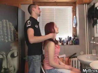 Slutty red head teen bitch cheating her boyfriend over his friend