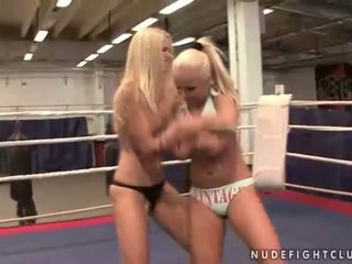 Wild busty blondes fighting