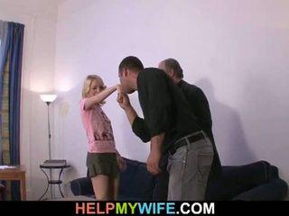 Pomoc mój żona: stary człowiek pays szczęśliwy dude do pieprzyć jego napalone
