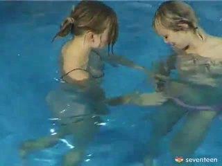 Lez Nymphs Inside The Pool