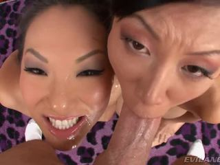 Asa Akira And Tia Ling The One And The Other Swallow Mike Adriano's Schlong