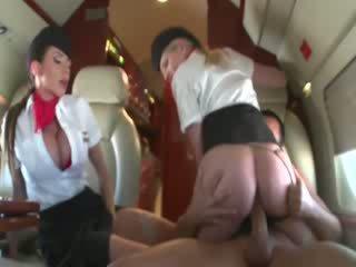 Stewardesses menunggang yang customers zakar/batang