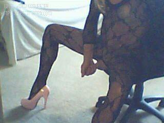 Dirty Sissy Gia Jiizz in Black Lingerie Body Stocking