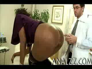 Gorgeous ebony Nyomi Banxxx with big tits stuffed and facialed