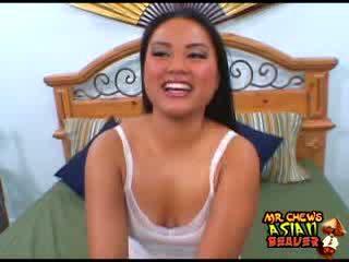 Slutty Asian chick sucks Julians dong balls deep before a hard fucking