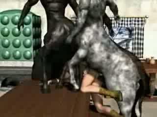 3D Girl Having Sex With Centaur Monsters Video