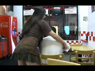 Nadine lovely brunette with long hair flashing tits and pussy and ass in public