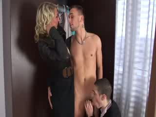 Slut gets fucked in MMF 3some and orgy group style