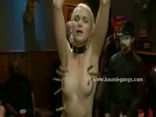 Big Titty doll blindfolded and tricked to fuck with group of large shafts in Deepthroat and nasty sex