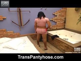 Hot Trans Pantyhose Movie Starring Lorena, Bruna, Rochele