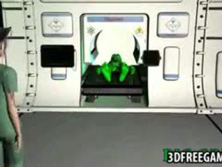 Tattooed 3D Cartoon Babe Gets Fucked By An Alien